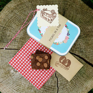 Picnic in a tin with gluten free brownies