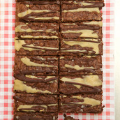 Chocolate and salted caramel brownie traybake