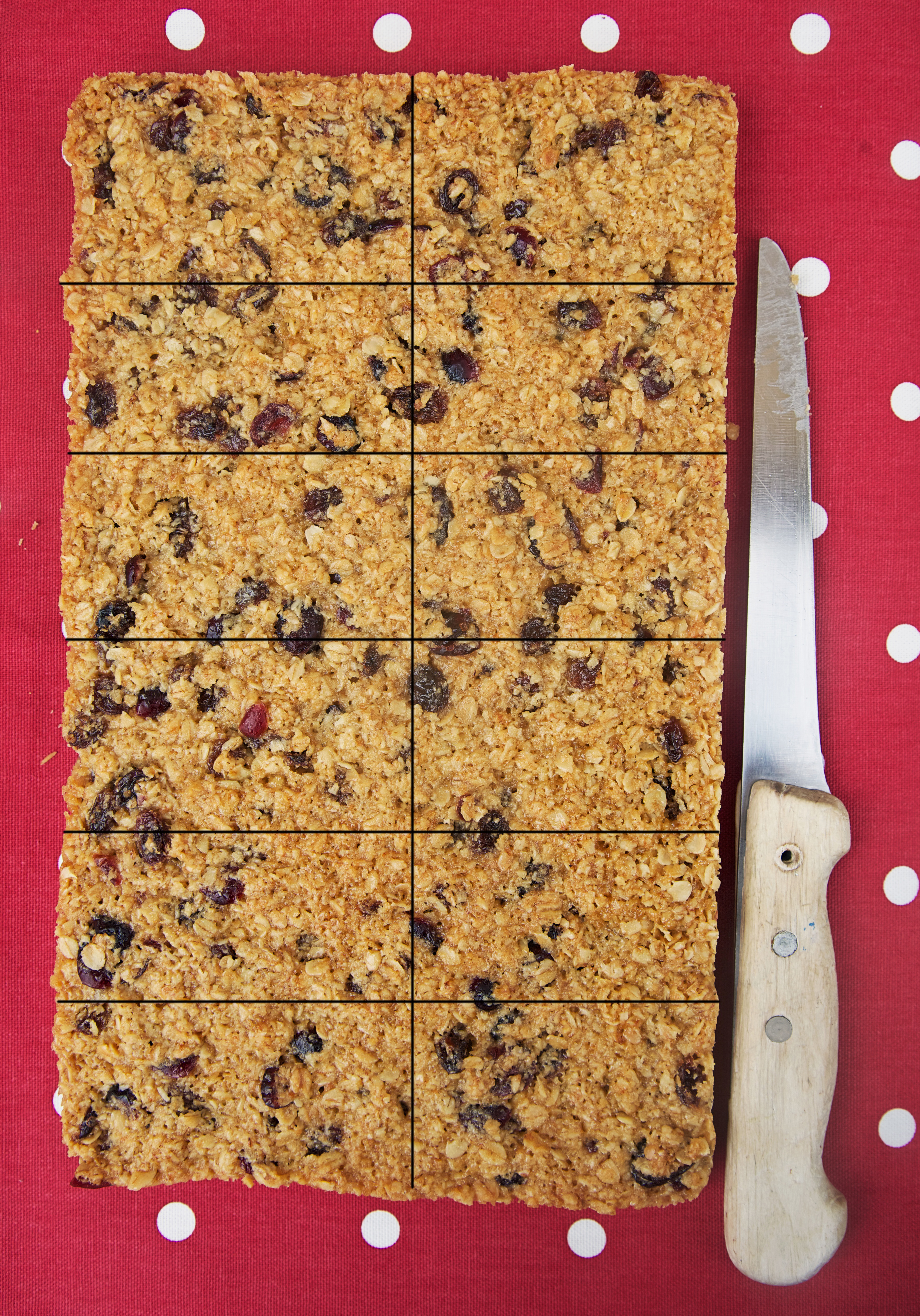 gluten free Fruit Flapjack cut into 12 pieces