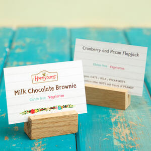 Gluten free traybake point of sale display  cards for retailers and stocksits