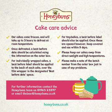 Honeybuns gluten free cake care advice