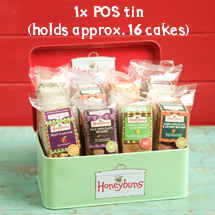 Honeybuns point of sale tin for an eyecatching trade display of gluten free cakes