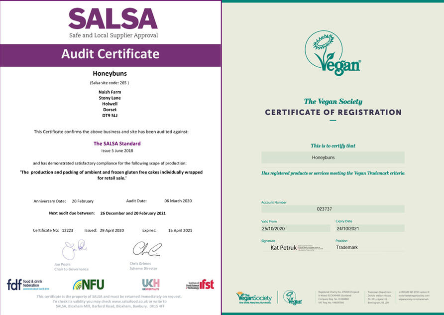SALSA audit and Vegan society accreditation